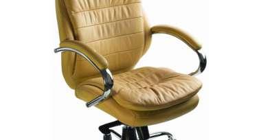 Кресло BN_Dp_Рук-ля EChair-515 ML (T-9950) кожа бежевая, хром