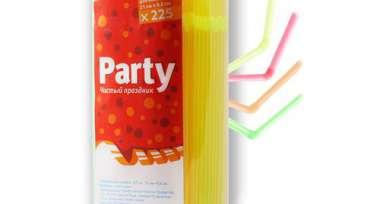 Трубочки для коктейля с изгибом 4 цвета (оранж,зел,желт,розов), 21см, 225 ш