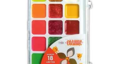 Краски 18цв,аквар,Оранжевое солнце,б/кисти,212083